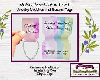 Fold Over Custom Jewelry Tags, Jewelry Price Tags, Display Tags, Inspired for Necklace or Bracelet - Printable Digital File