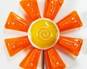 Glassworks Northwest - Tangerine and Marigold Flower Stake - Fused Glass Garden Art