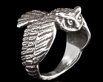Owl Ring Silver - Owl Jewelry - Bird Ring - Bird Jewelry Sterling Silver Ring - Owl Art - Mens Ring - Gift for Him Gift For Her - Bird Lover