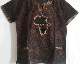 African Embroidered batik shirt available in Large and X large size