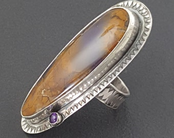 Amethyst Sage Ring, size 9 ring, sterling silver, amethyst, large ring, statement ring, purple and brown, long ring, amethyst sage, boho