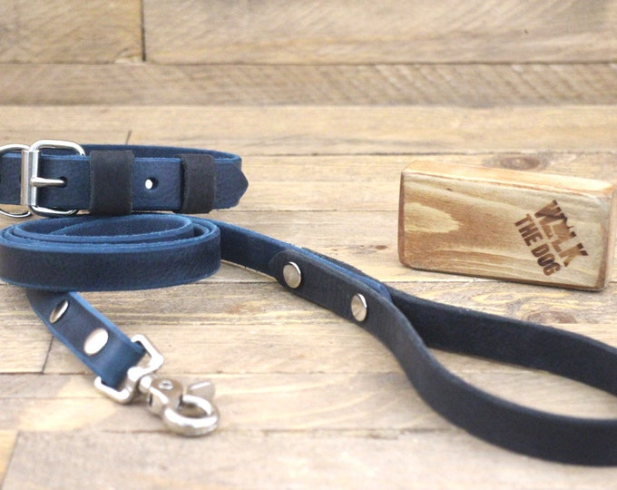 Collar, Dog collar, Leather lead, Deep ocean, Raven, Silver hardware, FREE ID TAG, Handmade collar and leash set.