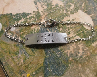 The Carrie Bracelet - Hand Stamped Metal ID Bracelet