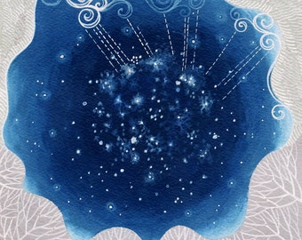 LARGE Oh my Stars art print, camping on summer nights, looking up at the stars while soft rain falls