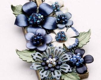 Flower Pendant - Hand Painted Flowers - Blue Flower Necklace - Bezel Necklace - Everlasting Flowers - OOAK Necklace - Flower Jewelry