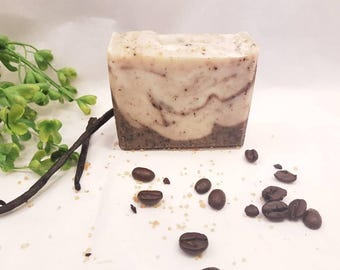 Coffee scrub soap, coffee soap bar, natural soap, coffee gift for her, mothers day gift for women, kitchen soap, handmade soap, coffee lover