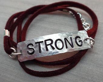 Strong Bracelet - Personalized Wrap Bracelet- Empowerment Jewelry - Your Word Bracelet - Empower Women Brave Fierce Warrior - B76