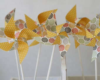 Cupcake topper Pinwheels 12 Mini Pinwheels Yellow Sunrise SALE (custom orders welcomed)