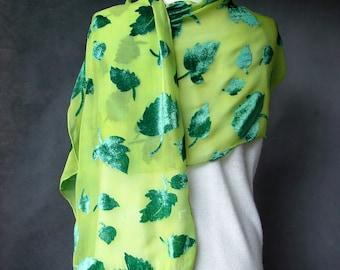 Velvet Hand Dyed Silk Scarf - Dark Green Leaves Velvet by SheWeaves Hand painted velvet on silk chiffon background, chunni dupatta