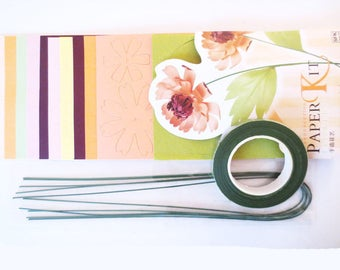 Paper + tutorial ORANGE flowers Kit