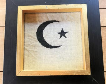 Handmade Cross Stitched Framed Crescent Moon and Star Picture