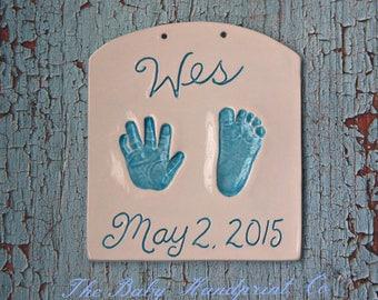 Baby Handprint keepsake - Hand and Footprint Keepsake - Newborn Keepsake - Custom Baby Keepsake - Personalized Baby Heirloom - Baby Keepsake