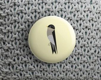 button met huiszwaluw (pin / magneet / spiegel)