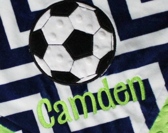 Personalized SOCCER Sports DOUBLE MINKY Soccer Ball Applique Blanket or Lovey with Name - Lime Green