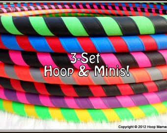 3-PACK 'ULTRAGRIP' Hula Hoop & Mini Twins SET - One Hoop and One Set of Mini Twins - Choose Any Colors and Sizes!