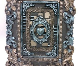 Altered frame. Home decor, mixed media art for you desk or mantle. Original, handmade piece by Michelle Fowler. One of a kind. Signed.