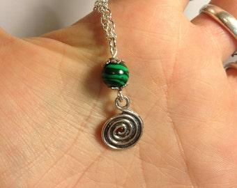 Story Goddess: Spiral Path Belt (Priestess, labyrinth, sacred work, sacred path, midwifery, malachite, Inanna, Araidne)