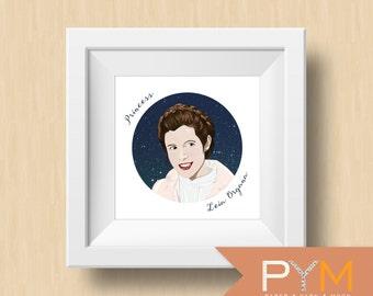 Princess Leia, Leia Organa, Leia, Princess Fandom Portrait, Female Role Model, Geek Art, Geek Decor: Princess Leia