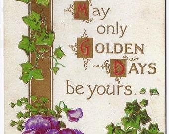 1908 Old Vintage Postcard, Flowers, Ivy, Petersburg, Linton, Indiana, 1c Stamp