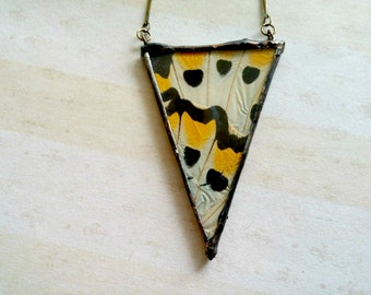 real Butterfly Necklace Bright Yellow Soldered Jewelry Black White Pendant insect necklace Boho Necklace Bird Wing Butterfly Necklace