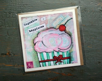 """SALE! LARGE greeting card 5x5"""", Cupcake card, Whimsical Cupcake, Sale Card, Clearance Card, Mixed Media Art card, Cupcakes = Happiness"""