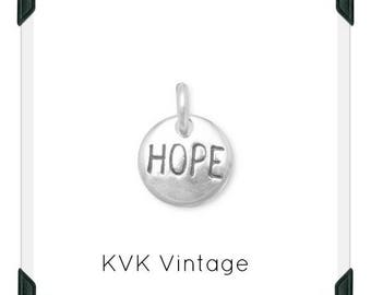 """Oxidized """"Hope"""" Hand-Stamped Sterling Silver Charm"""