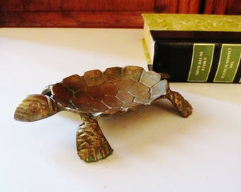 Vintage Brass Turtle Tray, Pocket Change or Ring Holder, Chinoiserie Decor, Rustic Brass Catchall, Palm Beach Decor, Entry Table Decor