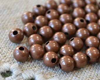 100pcs 8mm Metal Bead Antiqued Copper Plated Steel Round