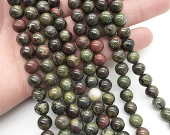 10mm Dragon Blood Jasper Beads, Round Gemstone Beads