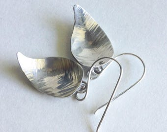 Sterling Silver Leaf Earrings - Textured Silver Leaf Earrings - 25th Anniversary Gift - Birthday Gift