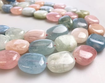 """Morganite Smooth Oval Gemstone Loose Beads Size 10x14/13x18/15x20mm Approx 15.5"""" per Strand"""
