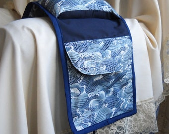 Ocean Waves Armchair Sewing Caddy, Hand Sewing Organizer
