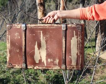 1930s suitcase, Antique suitcase distressed, Brown suitcase, Vintage suitcase, Old travel suitcase, Suitcase, Old suitcase, Vintage luggage