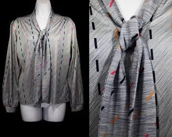 7 Dollar SALE---Vintage 80's LAND'N SEA Tie Neck Top Shirt M/L