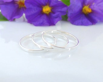 3 Above the Knuckle Rings - Plain Band Knuckle Rings, Silver thin shiny rings - set of 3 midi rings, unique gift for her