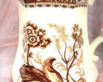 "Vintage I. Godinger & Co. Porcelain Pitcher ""Ellana"" Pattern Brown White Floral International Transferware French Country Housewarming Gift"