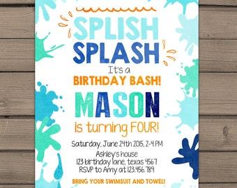 Splish Splash Birthday Invitation Pool Party Splish Splash Party Beach Party Pool birthday bash Boy birthday Blue Digital PRINTABLE ANY AGE