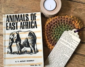 Date with A Vintage Book: Animals of East Africa | Vintage Book | Unique Gift Idea | Booklover Gift Set | Bibliophile | Coaster | Candle