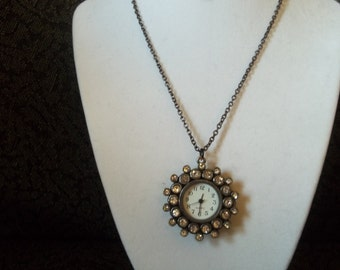 Ladies Black and rhinestone Watch pendant