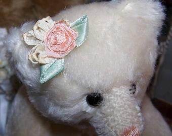 Handmade, French, Revival, Ribbonwork, Ribbon, Work, Flower, Floral, Peach, Cream, Mint, Green, Silk, Applique, Embellishment, Decoration
