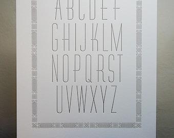 Letterpress ABC Print, Nursery Wall, Alphabet Poster, Wall Art, 8x10, Baby Decoration