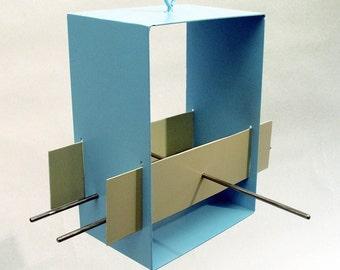 Bird Feeder Cubist Modern in Aqua welded steel