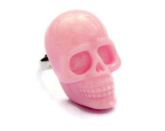 Large Light Pink Skull Ring, Rockabilly, Punk, Creepy Cute, Halloween, Day of the Dead