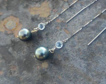 White Gold and blue Tahitian Pearl Earrings