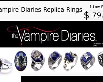 The Vampire Diaries Replica Ring Collection-7 Rings, Elena, Caroline, Jeremy, Alaric, Stefan, Damon,Klaus Rings