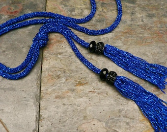 Long Tassel Necklace Hand Knitted in Royal Blue Metallic Yarn with Faceted Black Beads and Black Rhinestone Beads//Blue Tassel Necklace