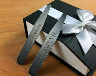 New Two Tone Matte Personalized Collar Stays, Black and Gray Collar Stiffeners, Engraved for Free, Monogrammed Men's Accessory