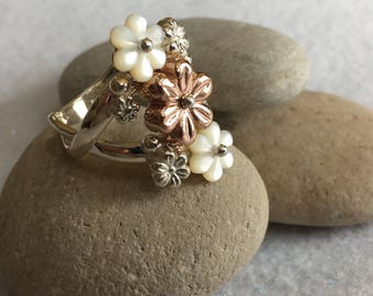 Ring-Sterling Silver with White, Pink and Silver Flowers, Weave Band Design