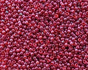 8/0 Toho Seed Beads - 15 grams - Gold Lustered Raspberry 8/0 Toho Seed Beads - 2498 - Gold Lustered Raspberry Toho Seed Beads