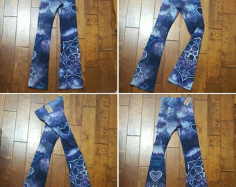 Yoga Pants, Medium Size, Women's yoga pants, Tie Dye Yoga Pants, Royal Apparel, Cotton Boho Pants, Bohemian, Festival pants, workout pants